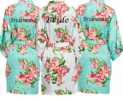 Light Blue Floral Dressing Gown