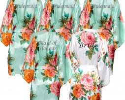 Mint Green Floral Robe