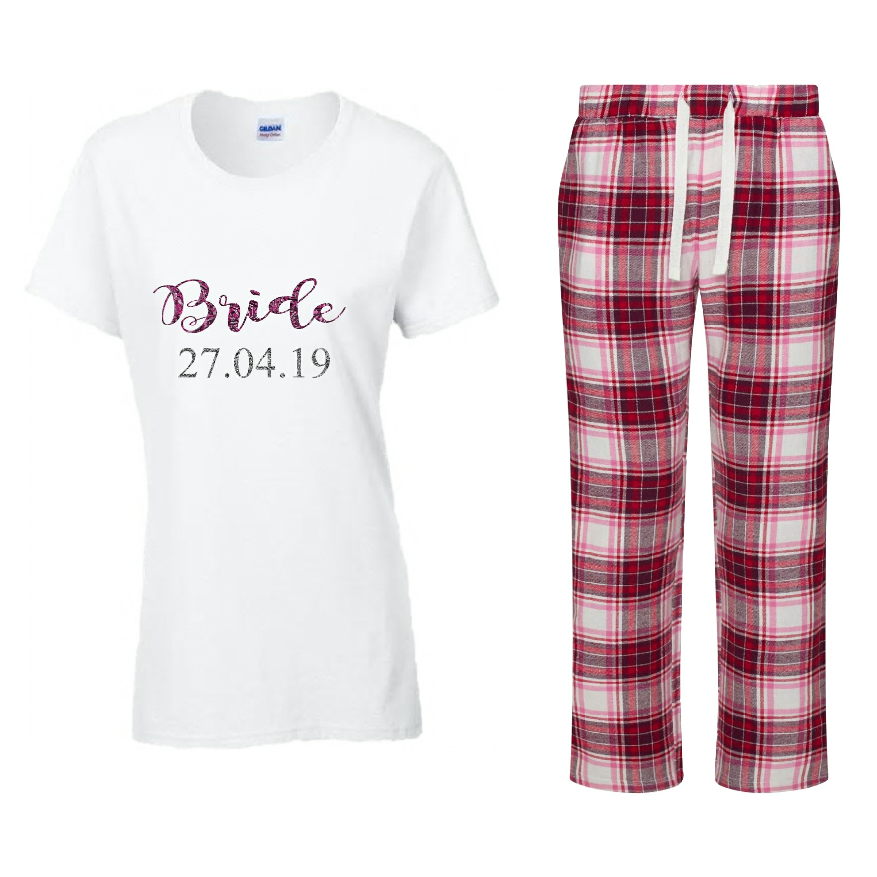 9e24f25225 Bride Pyjama Set. Personalised Wedding Pjs - Wedding Threads