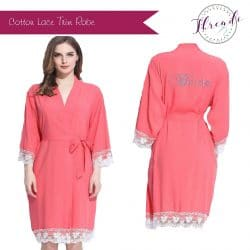 Coral Lace Dressing Gown
