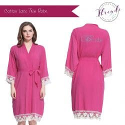 Fuschia Lace Dressing Gown