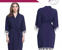 Navy Lace Dressing Gown