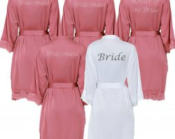 Dusky Pink Lace Robes