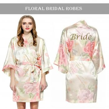 Champagne Floral Robe