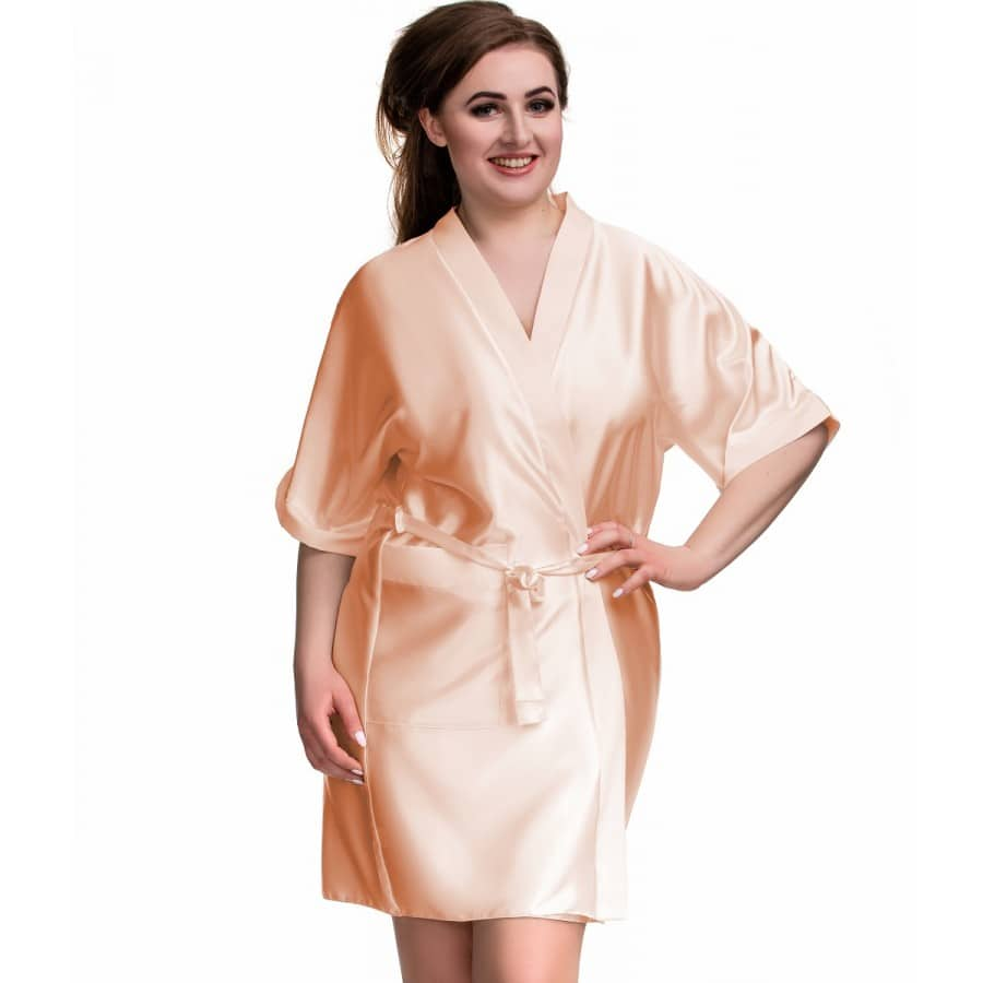 bb0c2a7c15771 Nude Robe Personalised Satin Bridal robes -Wedding Threads