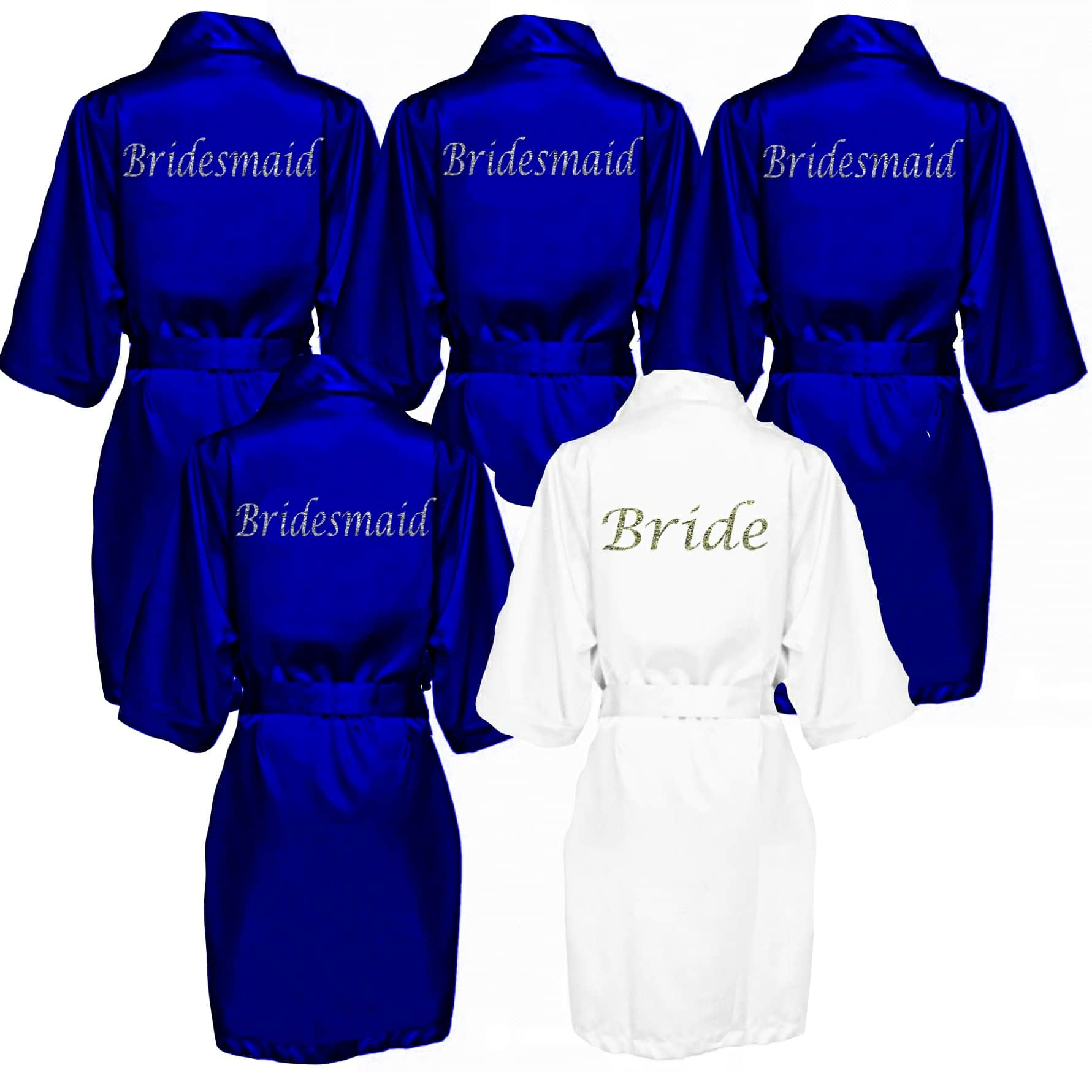 8ff37f9d9a4db Royal Blue Robe Personalised Satin Bridal robes -Wedding Threads