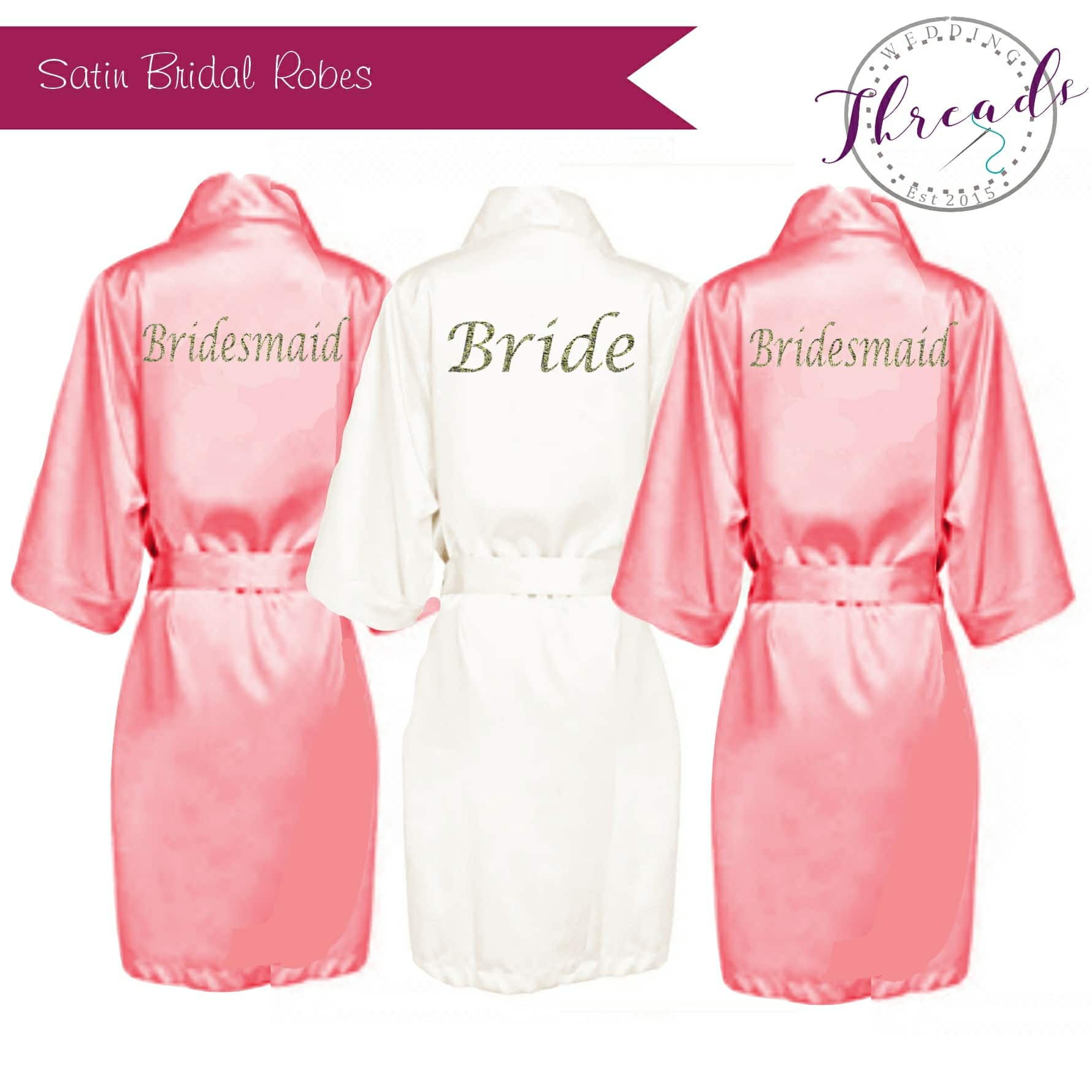 Coral Satin Robe Personalised satin dressing gowns - Wedding Threads bd756d61d