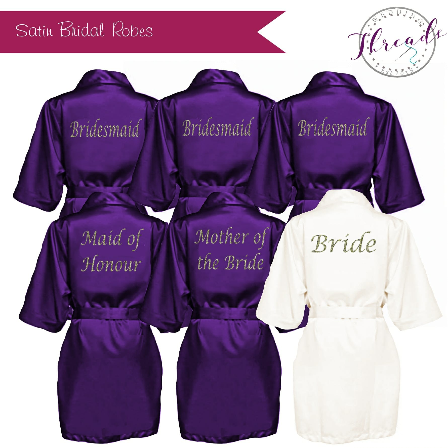 1ffe27867255b Purple Satin Robe. Personalised satin dressing gowns - Wedding Threads