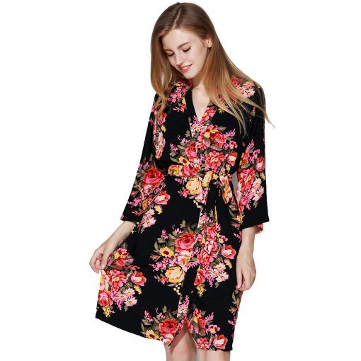 Amelia - Bride Dressing Gown Black