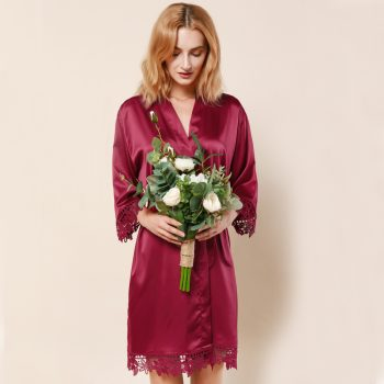 Layla - Wedding Robe Personalised - Burgundy