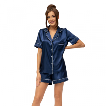 Navy Satin Bride Pyjamas