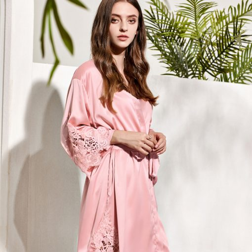 GRACE - DUSTY ROSE SATIN BRIDAL ROBE
