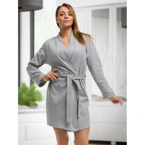 Isabella - Grey cotton robe