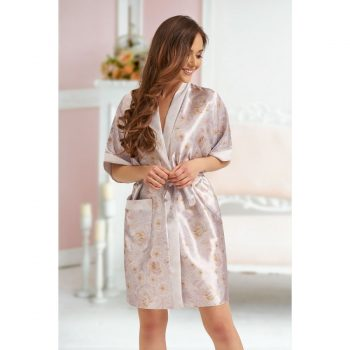 Leah - Ivory Floral satin robe