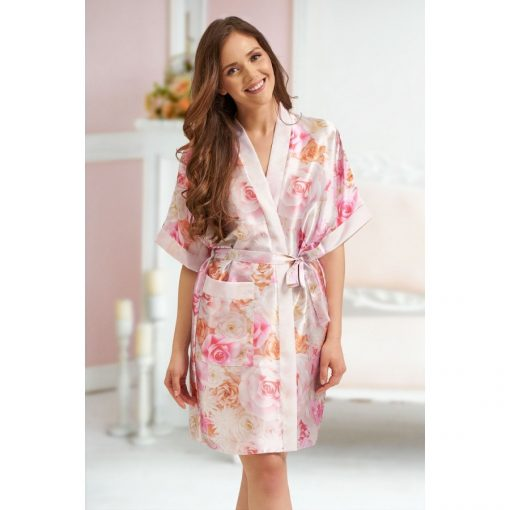 Leah - Multi coloured Floral satin robe