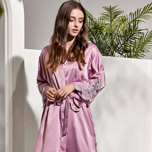 GRACE - MAUVE SATIN BRIDAL ROBE
