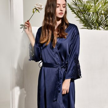 GRACE - NAVY SATIN BRIDAL ROBE
