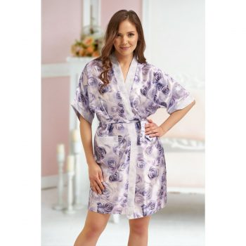 Sophia - Blue Floral satin robe