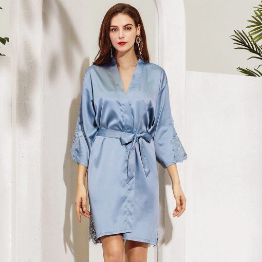 GRACE - DUSTY BLUE SATIN ROBE