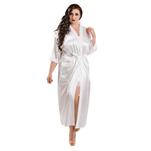 White Long Satin Bridal Robes